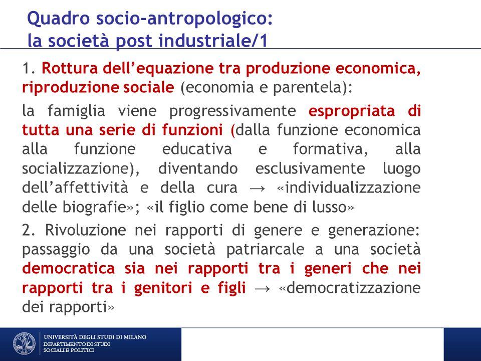 Quadro socio-antropologico: la società post industriale/1 1.