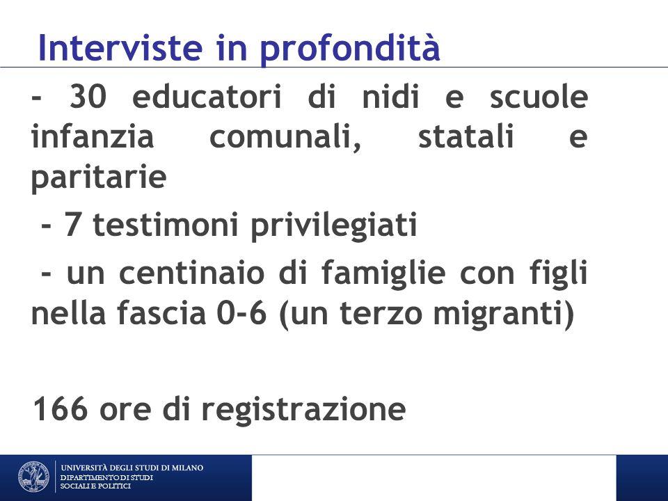 Dimensioni sondate Il progetto educativo Le pratiche educative Le politiche educative La responsabilità genitoriale DIPARTIMENTO DI STUDI SOCIALI E POLITICI