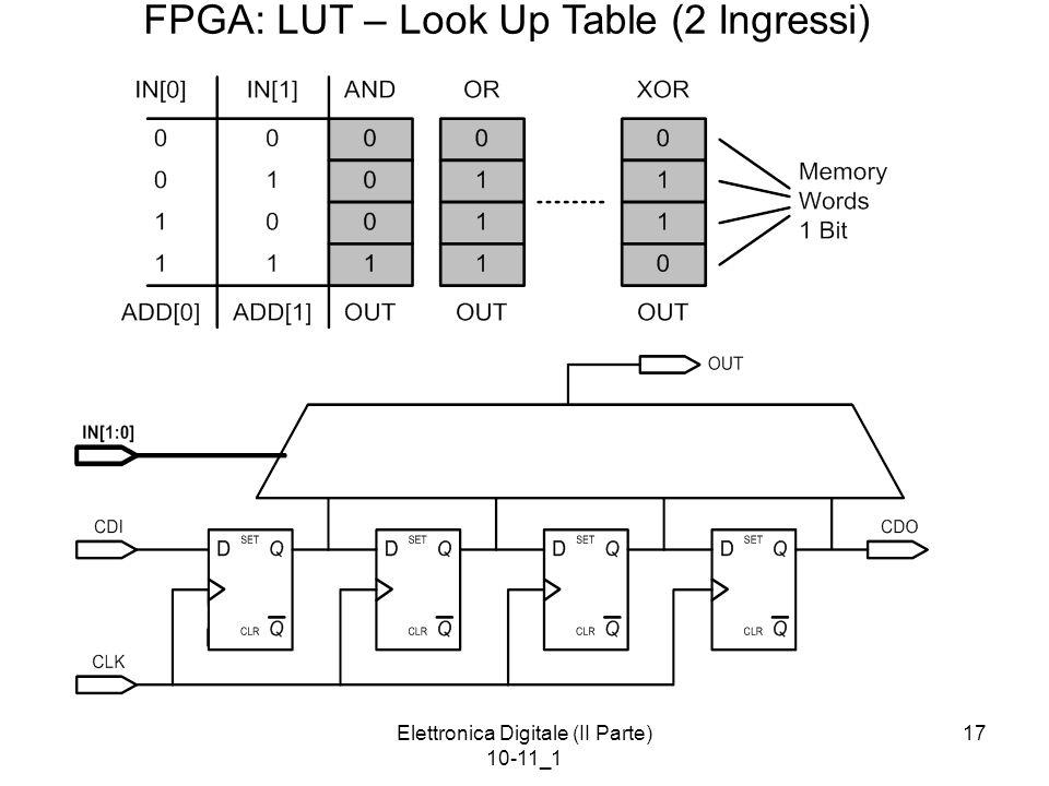 Elettronica Digitale (II Parte) 10-11_1 17 FPGA: LUT – Look Up Table (2 Ingressi)