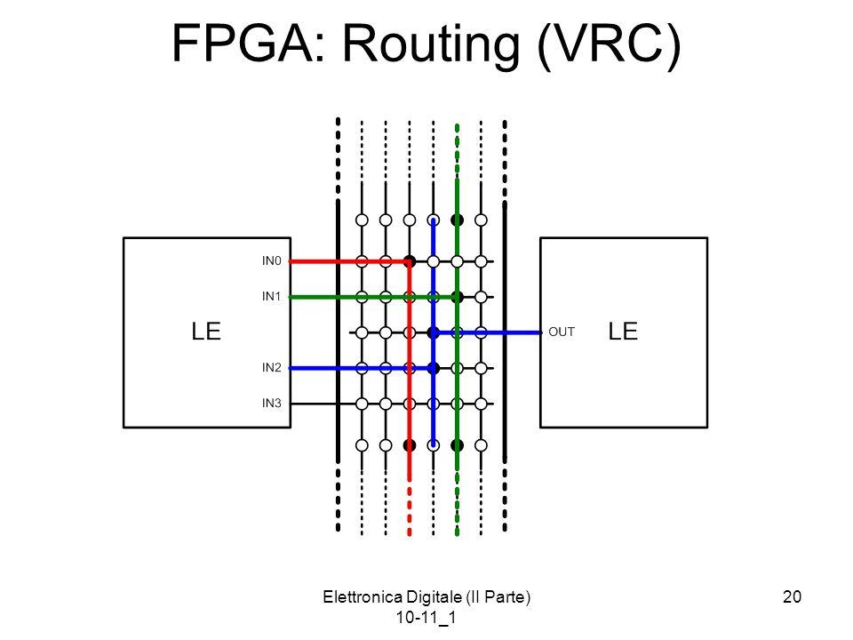 Elettronica Digitale (II Parte) 10-11_1 20 FPGA: Routing (VRC)