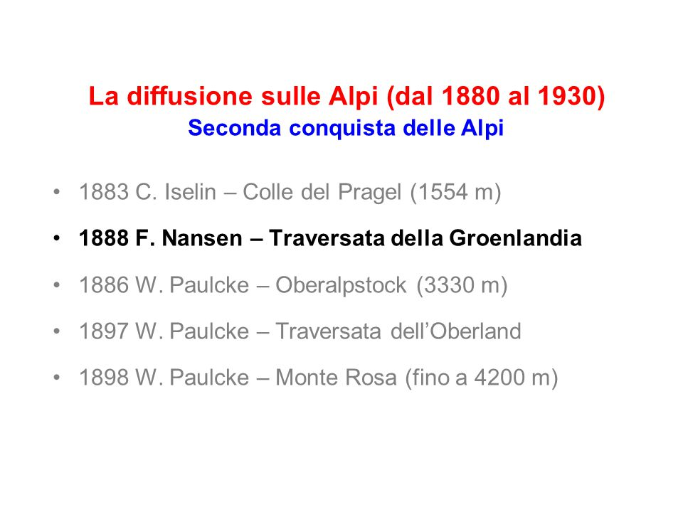 La diffusione sulle Alpi (dal 1880 al 1930) Seconda conquista delle Alpi 1883 C.