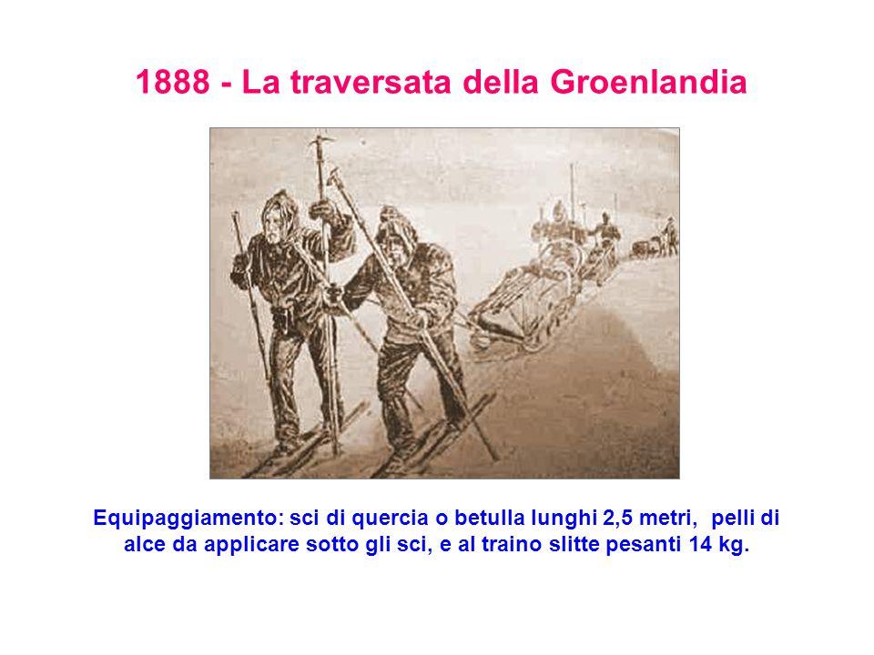 1888 - La traversata della Groenlandia Equipaggiamento: sci di quercia o betulla lunghi 2,5 metri, pelli di alce da applicare sotto gli sci, e al traino slitte pesanti 14 kg.