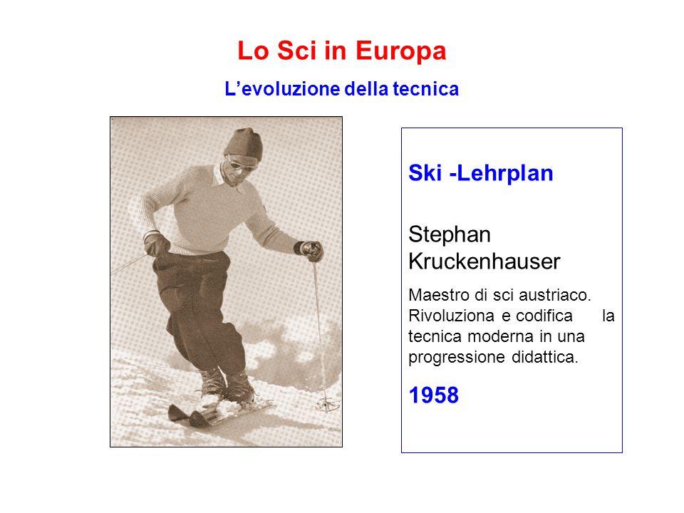 Lo Sci in Europa L'evoluzione della tecnica Ski -Lehrplan Stephan Kruckenhauser Maestro di sci austriaco.