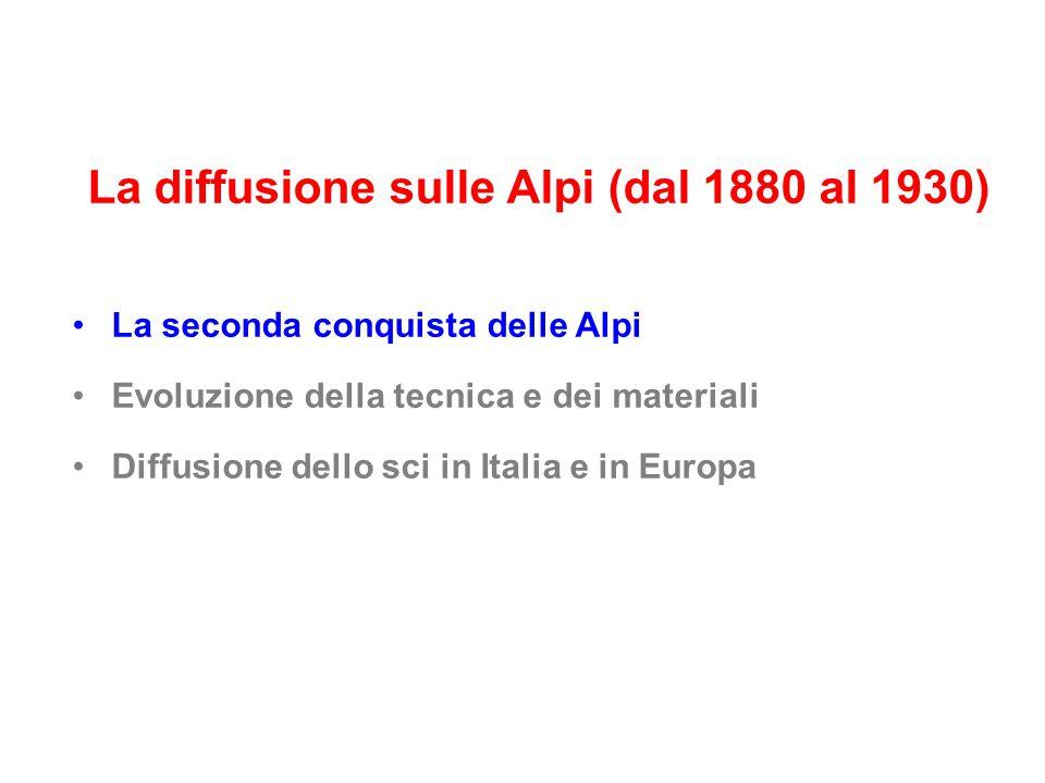 La diffusione sulle Alpi (dal 1880 al 1930) La seconda conquista delle Alpi Evoluzione della tecnica e dei materiali Diffusione dello sci in Italia e in Europa