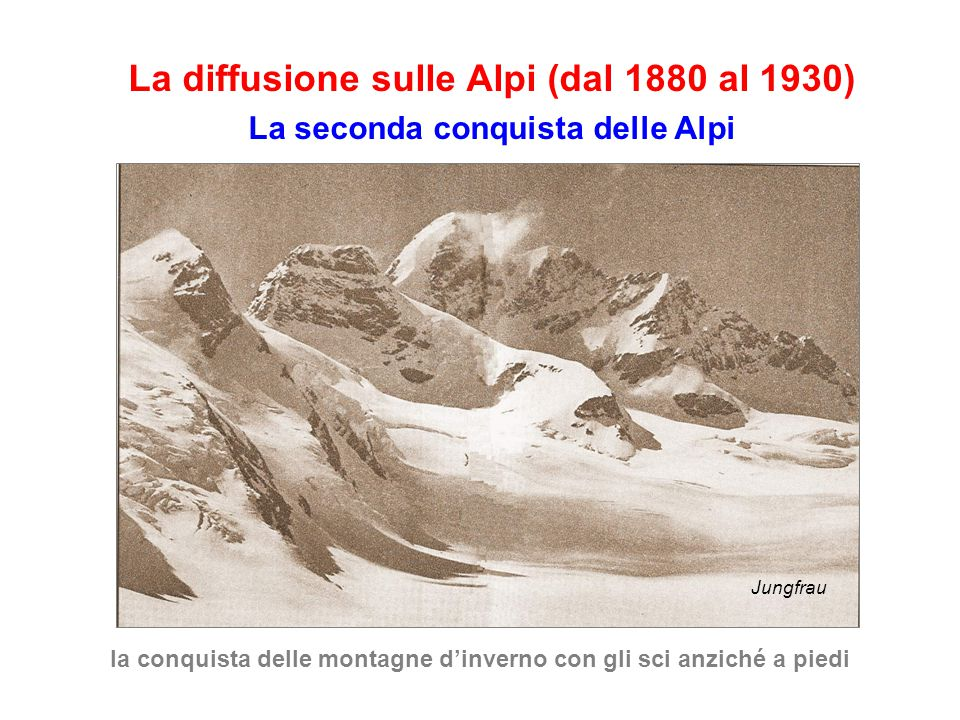 La diffusione sulle Alpi (dal 1880 al 1930) La seconda conquista delle Alpi la conquista delle montagne d'inverno con gli sci anziché a piedi Jungfrau