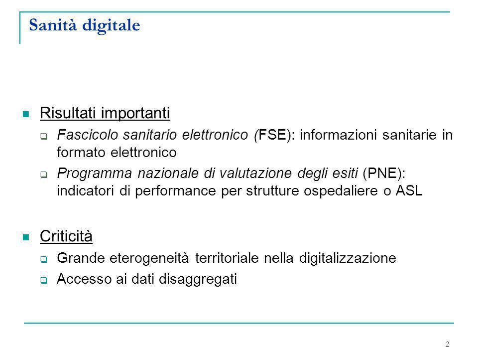 Sanità digitale Risultati importanti  Fascicolo sanitario elettronico (FSE): informazioni sanitarie in formato elettronico  Programma nazionale di v