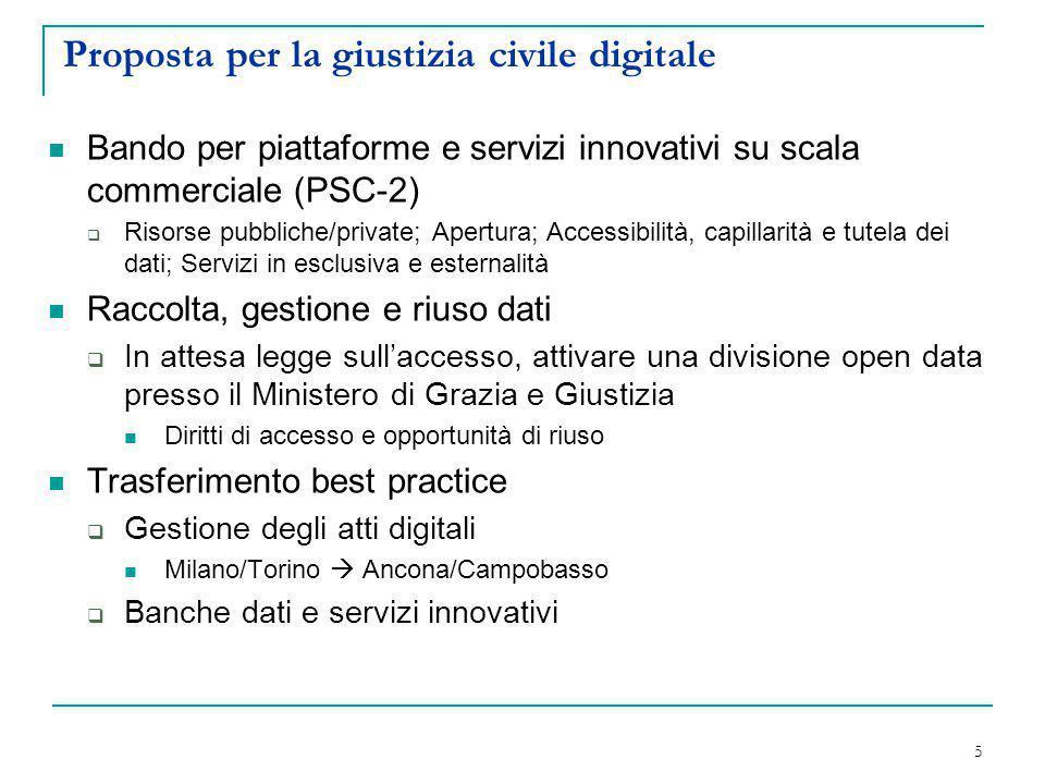Proposta per la giustizia civile digitale Bando per piattaforme e servizi innovativi su scala commerciale (PSC-2)  Risorse pubbliche/private; Apertur