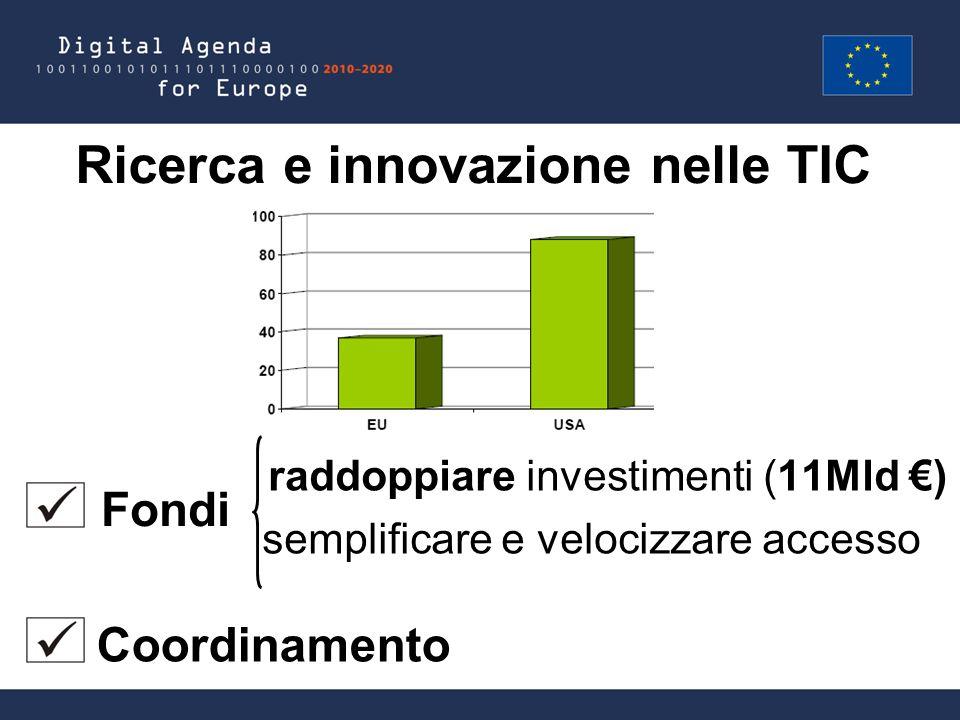 Ricerca e innovazione nelle TIC raddoppiare investimenti (11Mld €) semplificare e velocizzare accesso Fondi Coordinamento