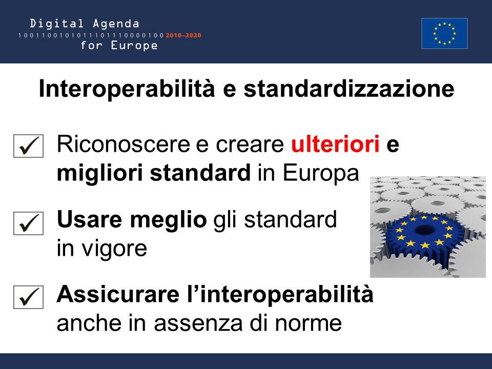 Interoperabilità e standardizzazione Riconoscere e creare ulteriori e migliori standard in Europa Usare meglio gli standard in vigore Assicurare l'interoperabilità anche in assenza di norme