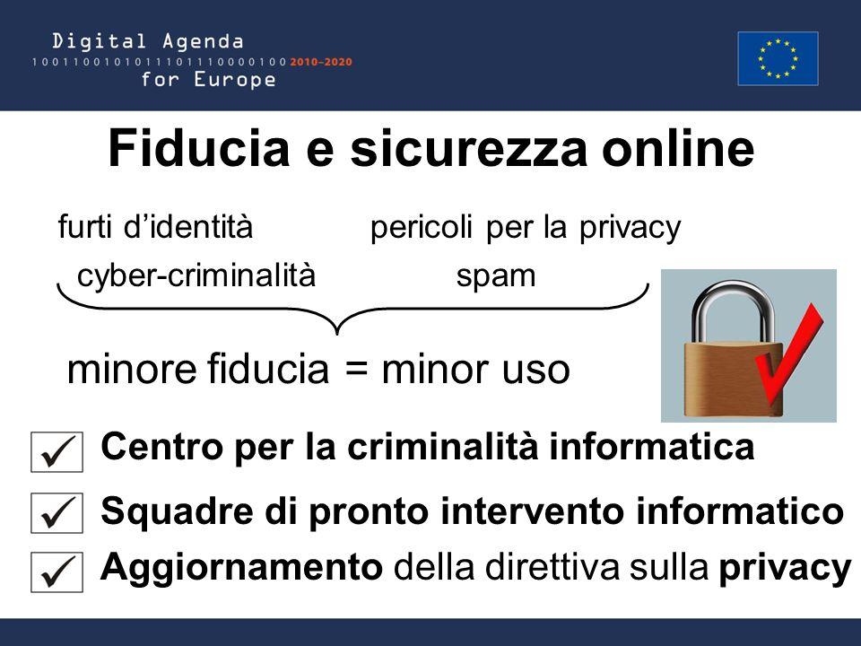 Fiducia e sicurezza online furti d'identità pericoli per la privacy cyber-criminalità spam Centro per la criminalità informatica Squadre di pronto intervento informatico Aggiornamento della direttiva sulla privacy = minor usominore fiducia