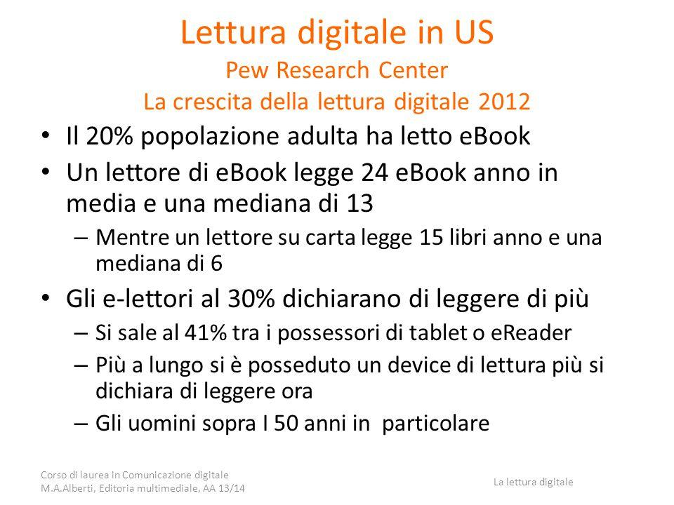 Lettura digitale in US Pew Research Center La crescita della lettura digitale 2012 Il 20% popolazione adulta ha letto eBook Un lettore di eBook legge 24 eBook anno in media e una mediana di 13 – Mentre un lettore su carta legge 15 libri anno e una mediana di 6 Gli e-lettori al 30% dichiarano di leggere di più – Si sale al 41% tra i possessori di tablet o eReader – Più a lungo si è posseduto un device di lettura più si dichiara di leggere ora – Gli uomini sopra I 50 anni in particolare Corso di laurea in Comunicazione digitale M.A.Alberti, Editoria multimediale, AA 13/14 La lettura digitale