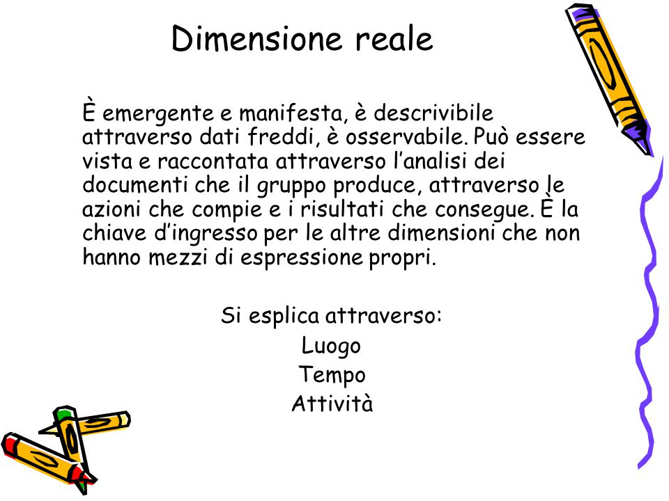 Dimensione reale È emergente e manifesta, è descrivibile attraverso dati freddi, è osservabile. Può essere vista e raccontata attraverso l'analisi dei