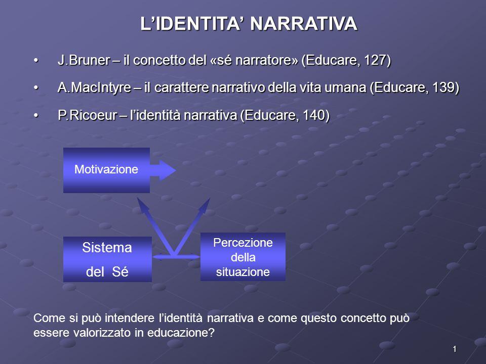 1 L'IDENTITA' NARRATIVA J.Bruner – il concetto del «sé narratore» (Educare, 127)J.Bruner – il concetto del «sé narratore» (Educare, 127) A.MacIntyre –