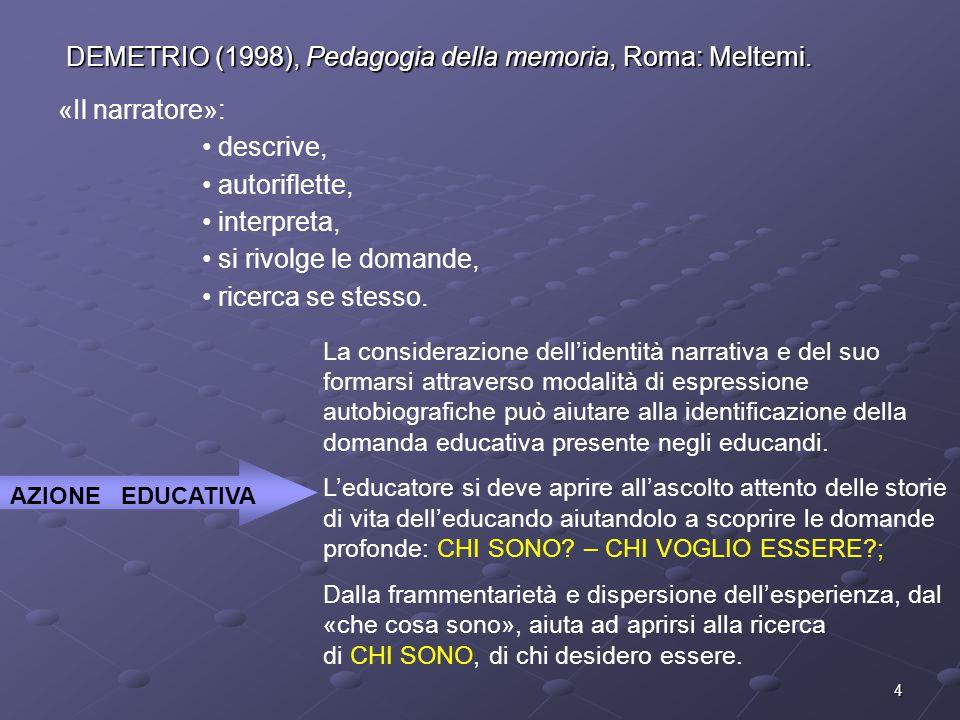 4 DEMETRIO (1998), Pedagogia della memoria, Roma: Meltemi. «Il narratore»: descrive, autoriflette, interpreta, si rivolge le domande, ricerca se stess