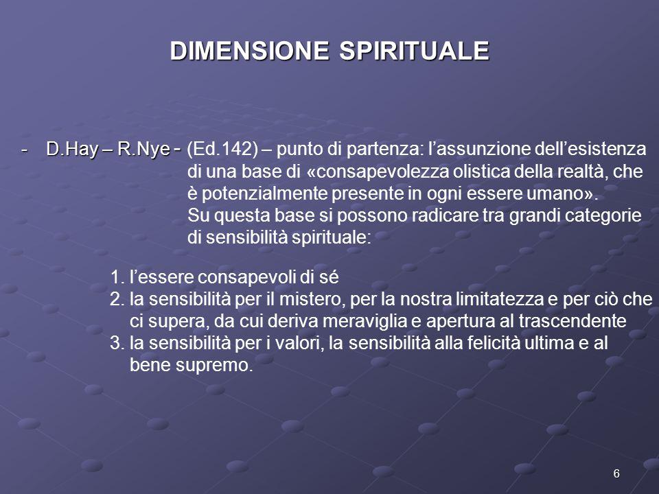 6 DIMENSIONE SPIRITUALE -D.Hay – R.Nye - -D.Hay – R.Nye - (Ed.142) – punto di partenza: l'assunzione dell'esistenza di una base di «consapevolezza oli