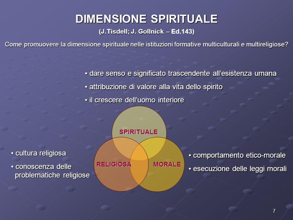 7 DIMENSIONE SPIRITUALE (J.Tisdell; J. Gollnick – ) (J.Tisdell; J. Gollnick – Ed.143) Come promuovere la dimensione spirituale nelle istituzioni forma