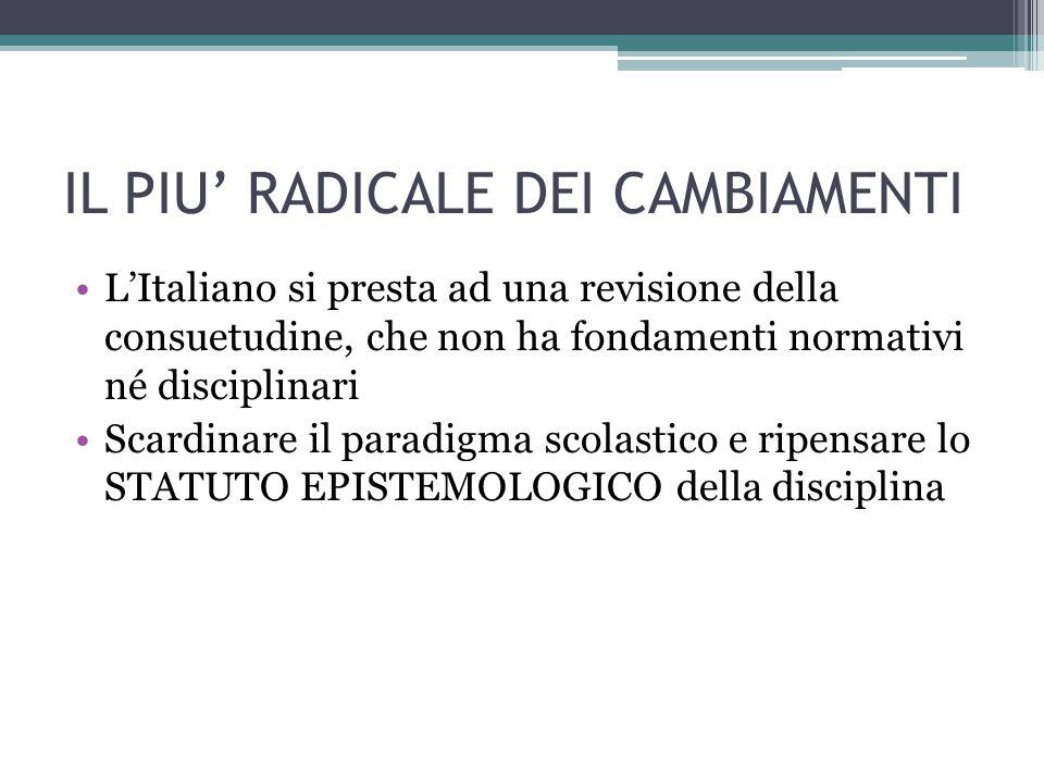 IL PIU' RADICALE DEI CAMBIAMENTI L'Italiano si presta ad una revisione della consuetudine, che non ha fondamenti normativi né disciplinari Scardinare