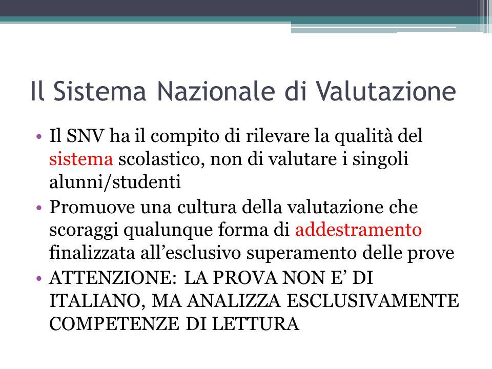 Il Sistema Nazionale di Valutazione Il SNV ha il compito di rilevare la qualità del sistema scolastico, non di valutare i singoli alunni/studenti Prom