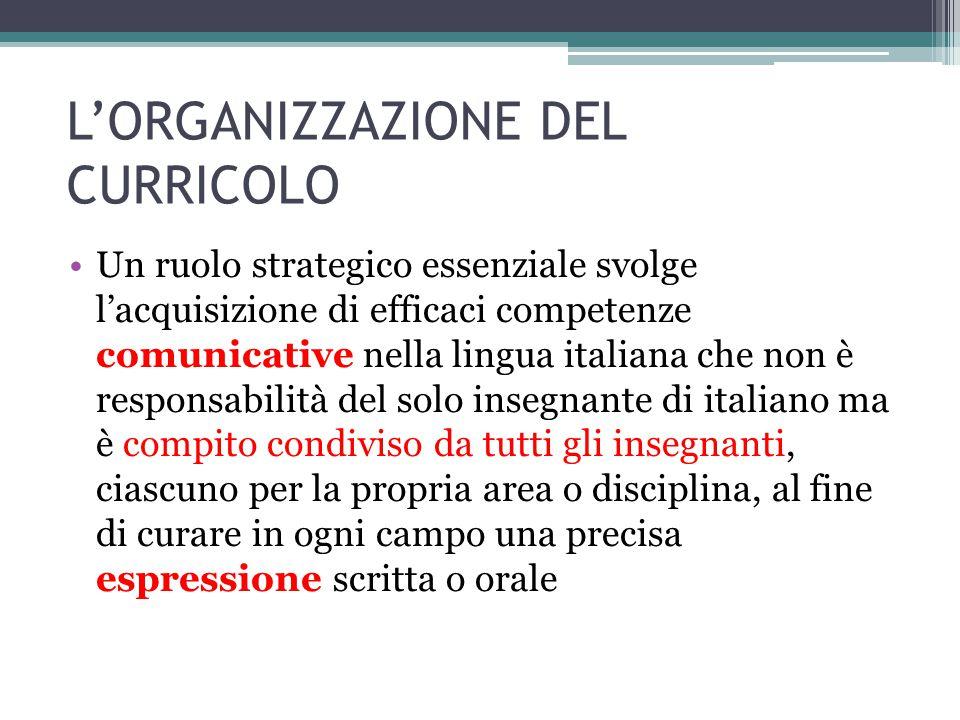 L'ORGANIZZAZIONE DEL CURRICOLO Un ruolo strategico essenziale svolge l'acquisizione di efficaci competenze comunicative nella lingua italiana che non