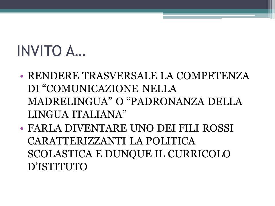"""INVITO A… RENDERE TRASVERSALE LA COMPETENZA DI """"COMUNICAZIONE NELLA MADRELINGUA"""" O """"PADRONANZA DELLA LINGUA ITALIANA"""" FARLA DIVENTARE UNO DEI FILI ROS"""