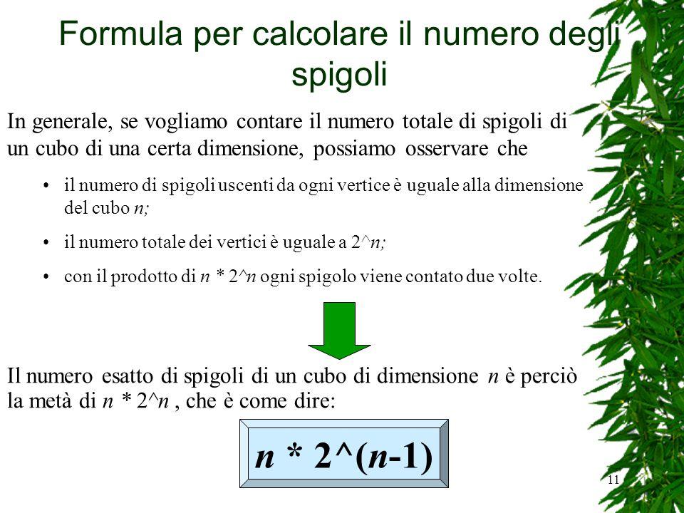 11 Formula per calcolare il numero degli spigoli In generale, se vogliamo contare il numero totale di spigoli di un cubo di una certa dimensione, poss
