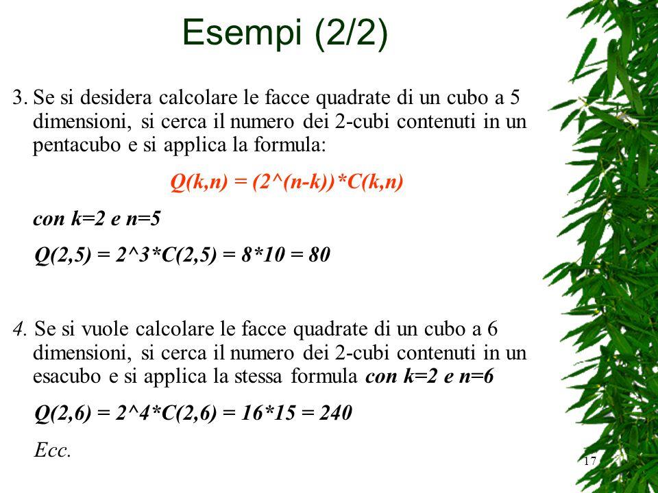 17 3.Se si desidera calcolare le facce quadrate di un cubo a 5 dimensioni, si cerca il numero dei 2-cubi contenuti in un pentacubo e si applica la for