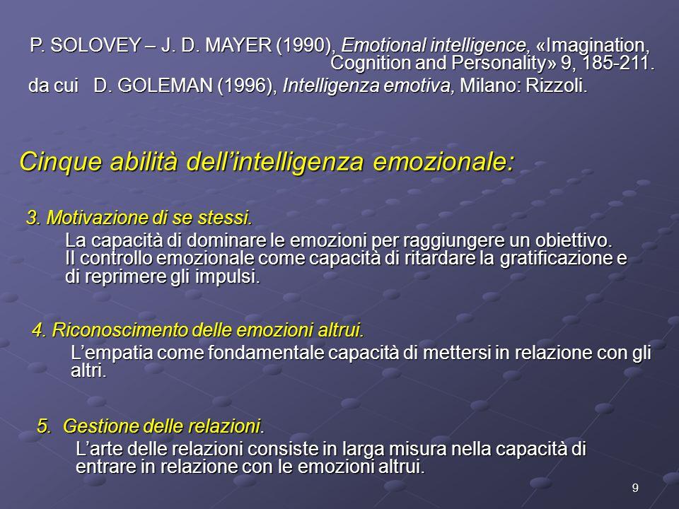 9 3. Motivazione di se stessi. La capacità di dominare le emozioni per raggiungere un obiettivo. Il controllo emozionale come capacità di ritardare la