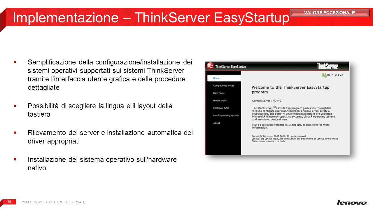 14 Implementazione – ThinkServer EasyStartup  Semplificazione della configurazione/installazione dei sistemi operativi supportati sui sistemi ThinkSe