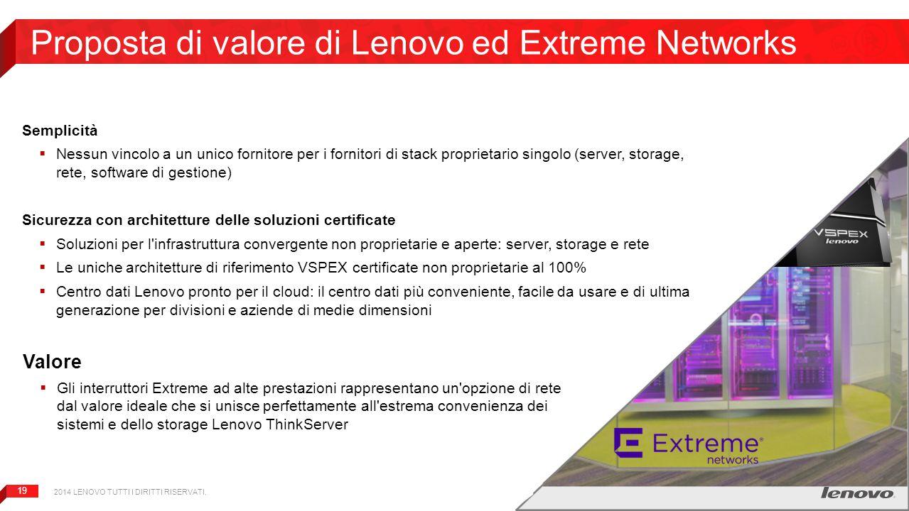 19 Proposta di valore di Lenovo ed Extreme Networks Semplicità  Nessun vincolo a un unico fornitore per i fornitori di stack proprietario singolo (se