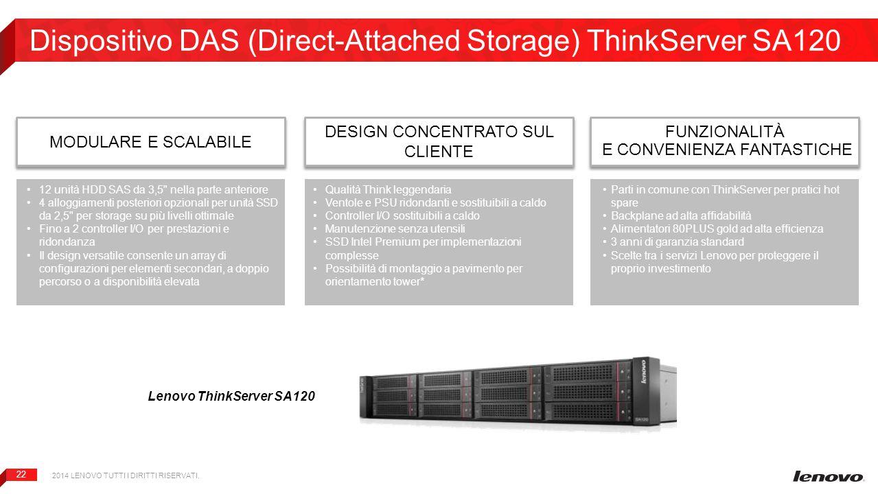 22 Dispositivo DAS (Direct-Attached Storage) ThinkServer SA120 Lenovo ThinkServer SA120 MODULARE E SCALABILE 2014 LENOVO TUTTI I DIRITTI RISERVATI. DE