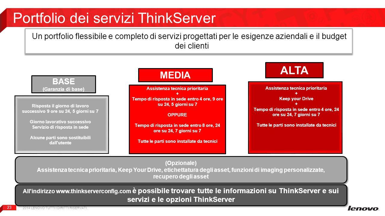23 Portfolio dei servizi ThinkServer Un portfolio flessibile e completo di servizi progettati per le esigenze aziendali e il budget dei clienti 2014 L