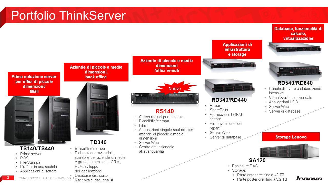 3 Portfolio ThinkServer TS140/TS440 Primo server POS File/Stampa L'ufficio in una scatola Applicazioni di settore RD340/RD440 E-mail SharePoint Applic