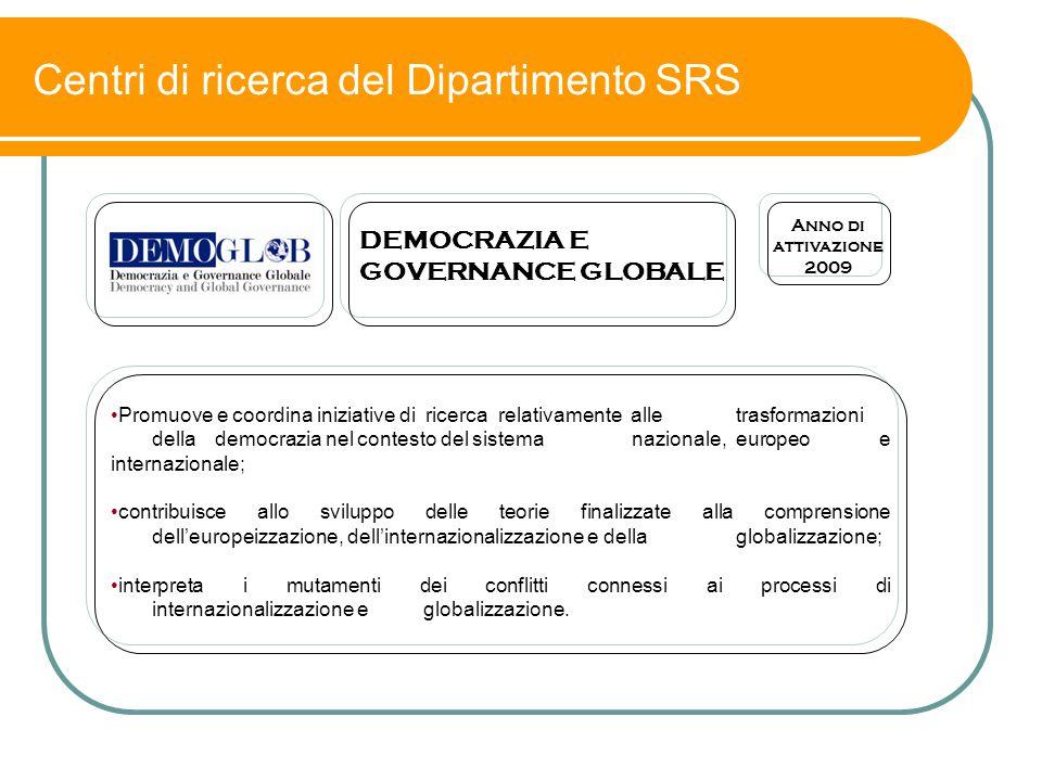 Centri di ricerca del Dipartimento SRS Promuove e coordina iniziative di ricerca relativamente alle trasformazioni della democrazia nel contesto del s