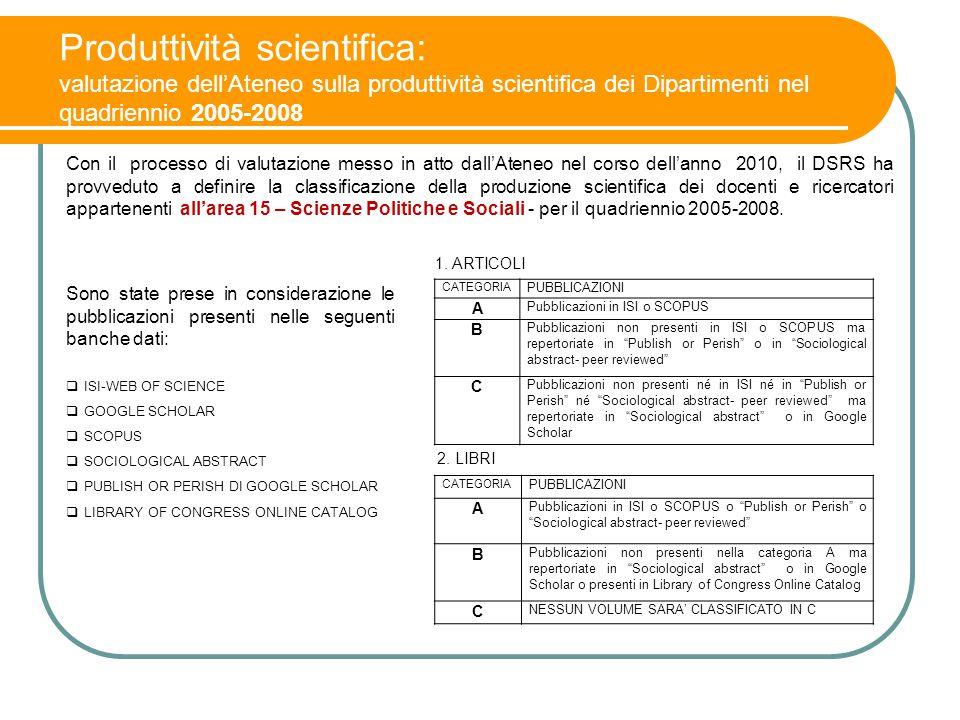 Produttività scientifica: valutazione dell'Ateneo sulla produttività scientifica dei Dipartimenti nel quadriennio 2005-2008 Con il processo di valutaz
