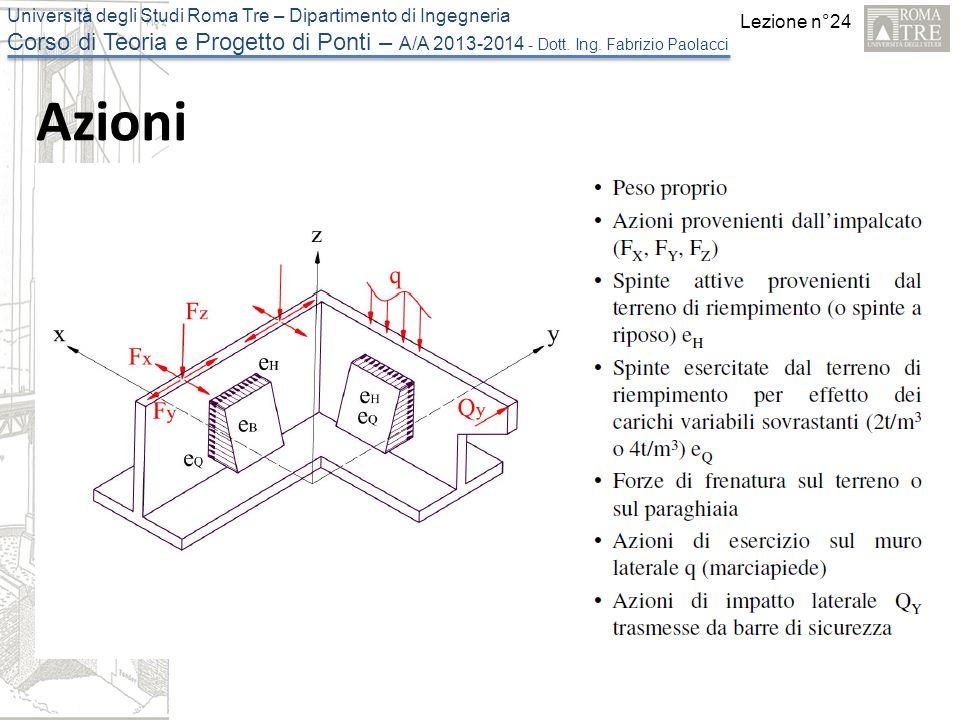 Lezione n°24 Università degli Studi Roma Tre – Dipartimento di Ingegneria Corso di Teoria e Progetto di Ponti – A/A 2013-2014 - Dott.