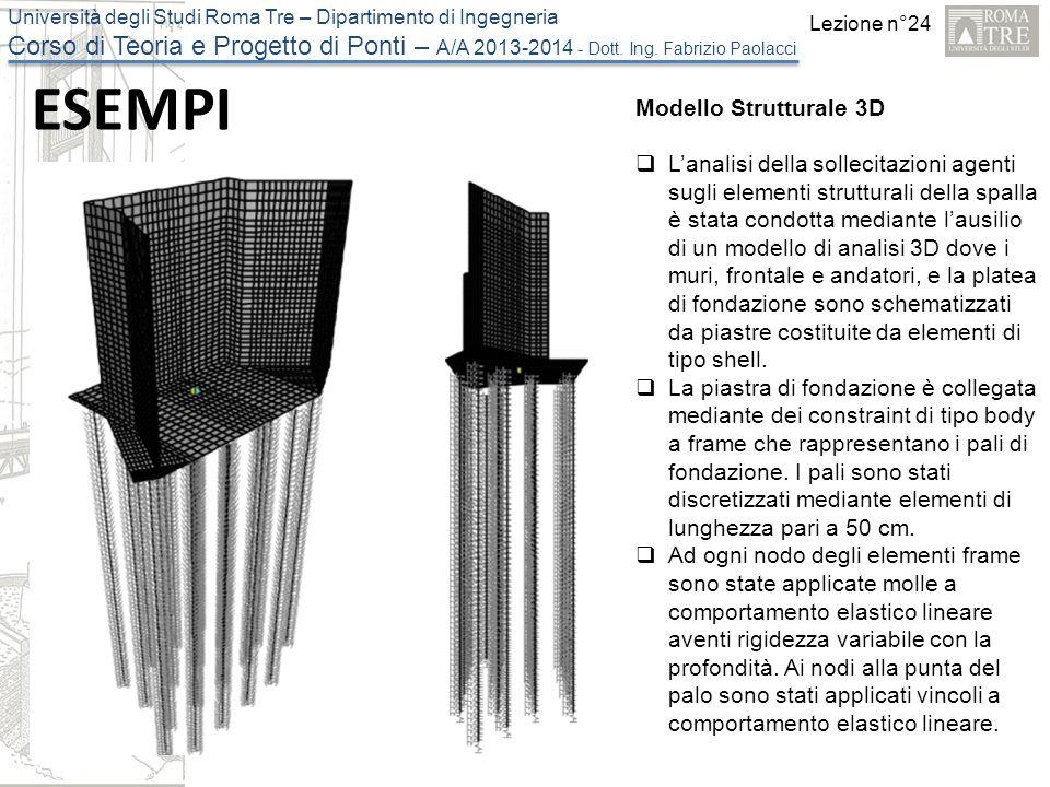 Lezione n°24 Università degli Studi Roma Tre – Dipartimento di Ingegneria Corso di Teoria e Progetto di Ponti – A/A 2013-2014 - Dott. Ing. Fabrizio Pa