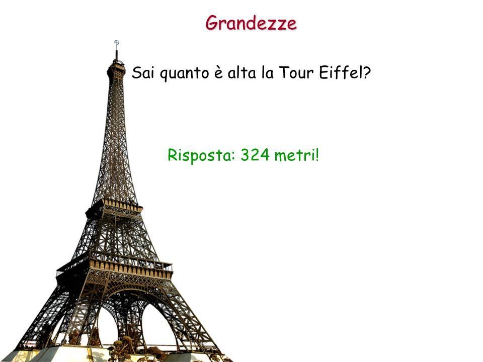 Grandezze Sai quanto è alta la Tour Eiffel? Risposta: 324 metri!