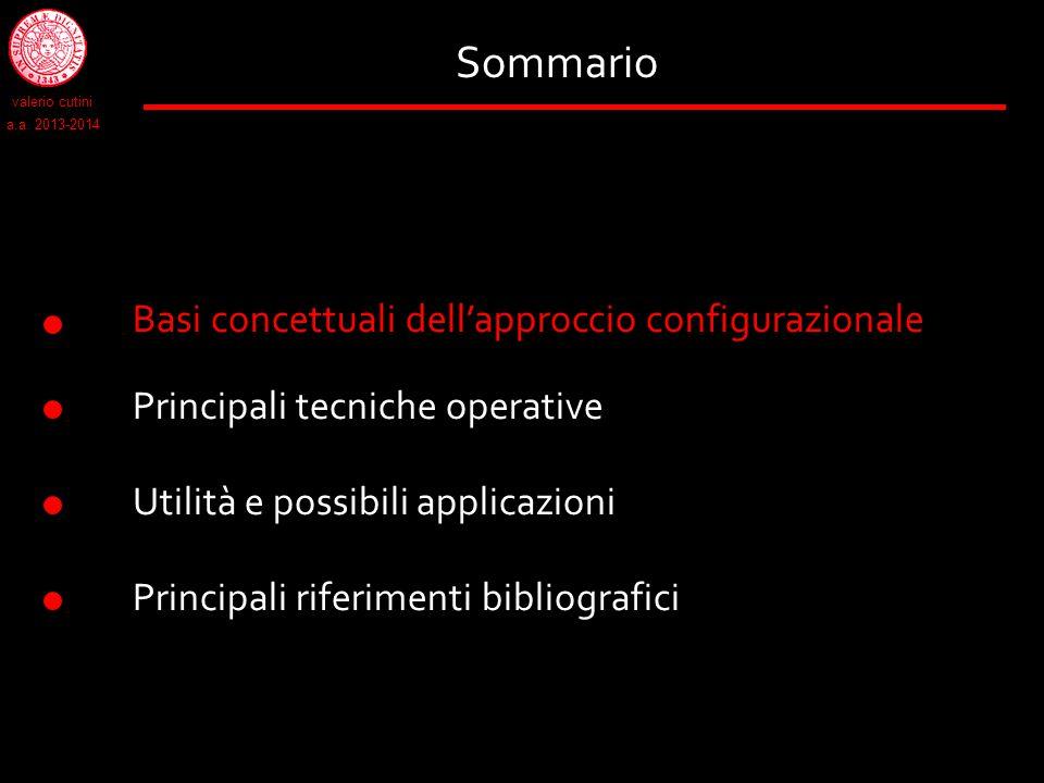 Sommario Basi concettuali dell'approccio configurazionale Principali tecniche operative Utilità e possibili applicazioni Principali riferimenti biblio