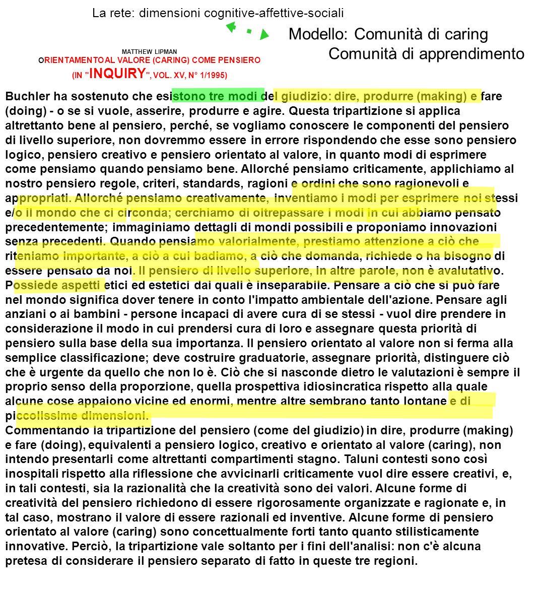 La rete: dimensioni cognitive-affettive-sociali MATTHEW LIPMAN O RIENTAMENTO AL VALORE (CARING) COME PENSIERO (IN INQUIRY , VOL.