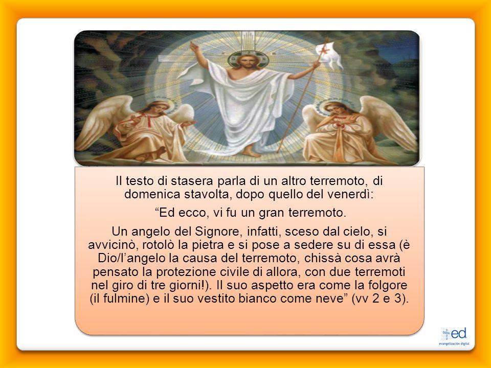 l'inizio di una nuova creazione Così l'apostolo ed evangelista Mt esprime l'importanza straordinaria della risurrezione di Gesù, che segna, unita alla croce, l'inizio di una nuova creazione.