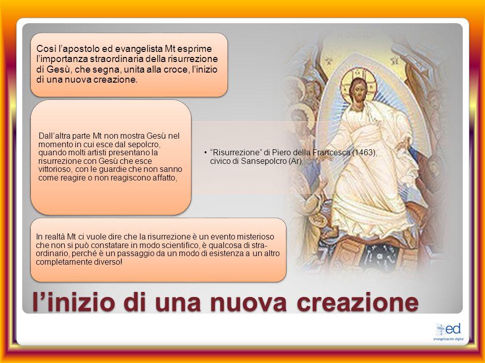 l'inizio di una nuova creazione Così l'apostolo ed evangelista Mt esprime l'importanza straordinaria della risurrezione di Gesù, che segna, unita alla