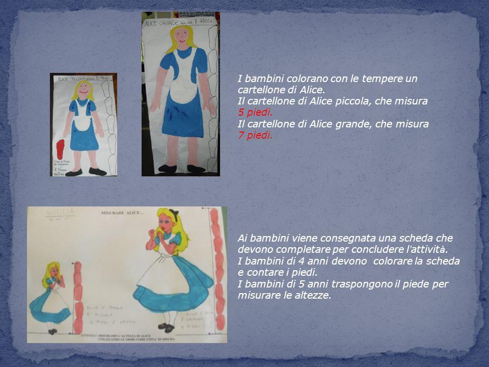 I bambini colorano con le tempere un cartellone di Alice.