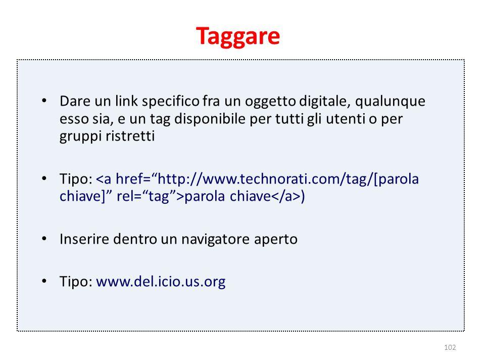 102 Taggare Dare un link specifico fra un oggetto digitale, qualunque esso sia, e un tag disponibile per tutti gli utenti o per gruppi ristretti Tipo: