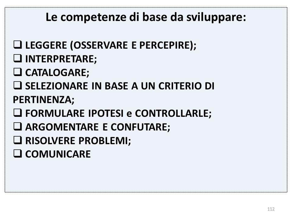 112 Le competenze di base da sviluppare:  LEGGERE (OSSERVARE E PERCEPIRE);  INTERPRETARE;  CATALOGARE;  SELEZIONARE IN BASE A UN CRITERIO DI PERTI