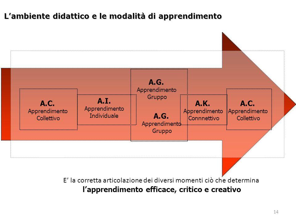14 L'ambiente didattico e le modalità di apprendimento A.I. Apprendimento Individuale A.G. Apprendimento Gruppo A.C. Apprendimento Collettivo A.K. App