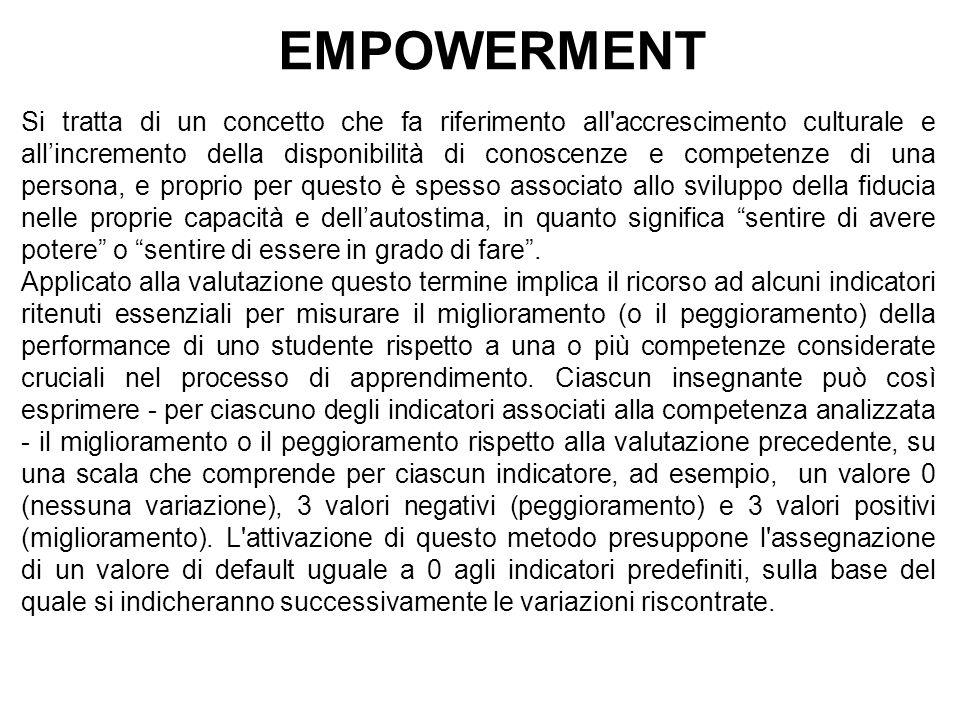 EMPOWERMENT Si tratta di un concetto che fa riferimento all'accrescimento culturale e all'incremento della disponibilità di conoscenze e competenze di
