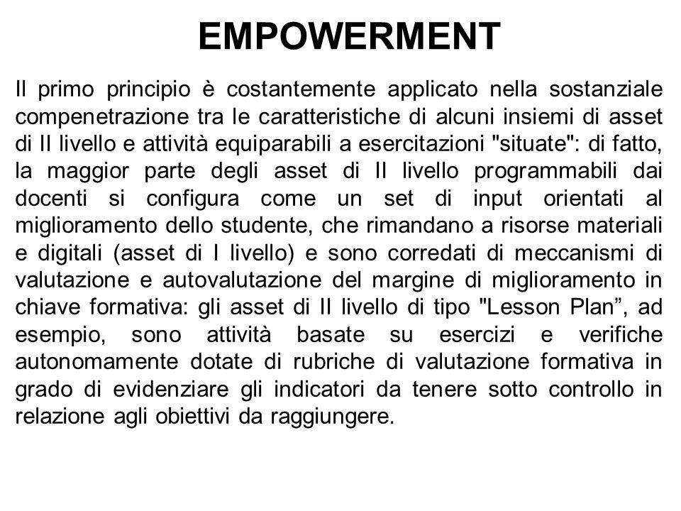 EMPOWERMENT Il primo principio è costantemente applicato nella sostanziale compenetrazione tra le caratteristiche di alcuni insiemi di asset di II liv
