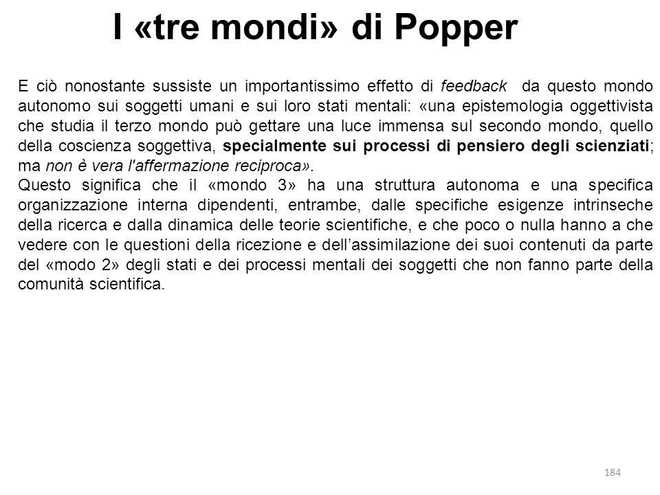184 I «tre mondi» di Popper E ciò nonostante sussiste un importantissimo effetto di feedback da questo mondo autonomo sui soggetti umani e sui loro st