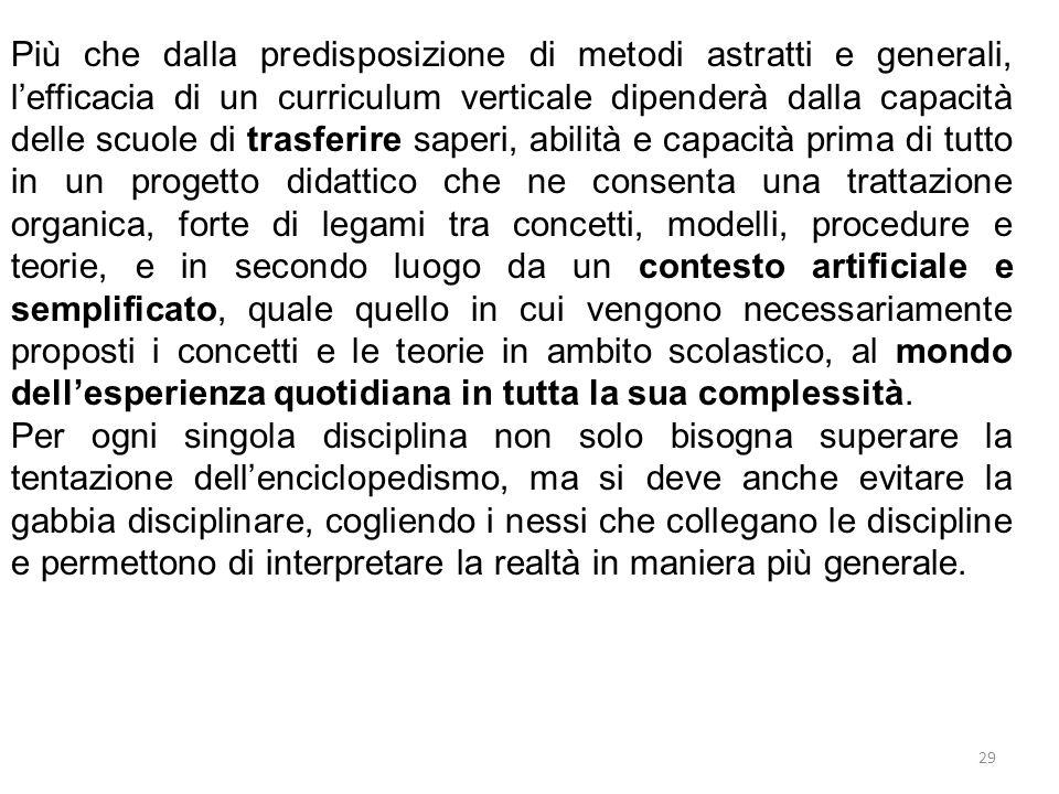 29 Più che dalla predisposizione di metodi astratti e generali, l'efficacia di un curriculum verticale dipenderà dalla capacità delle scuole di trasfe