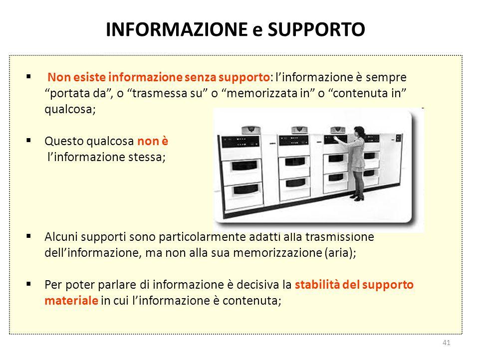 """41 INFORMAZIONE e SUPPORTO  Non esiste informazione senza supporto: l'informazione è sempre """"portata da"""", o """"trasmessa su"""" o """"memorizzata in"""" o """"cont"""